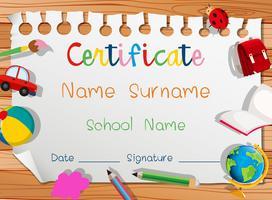 Certificaatsjabloon met veel speelgoed vector