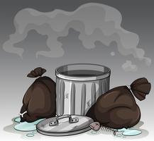 Vuile vuilnisbak en tassen