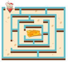 Labyrint sjabloon met muis en kaas vector