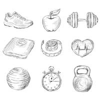 Fitness schets iconen vector
