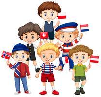 Jongens houden vlaggen uit verschillende landen vector