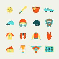 Honkbal pictogrammen instellen plat vector