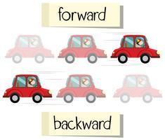 Tegenover de woordkaart voor vooruit en achteruit vector