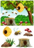 Bijen vliegen rond de bijenkorf in het park vector