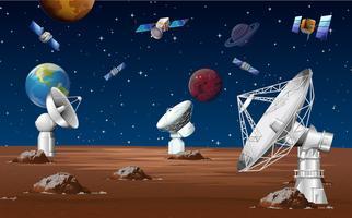 Satellieten cirkelen rond de planeet vector