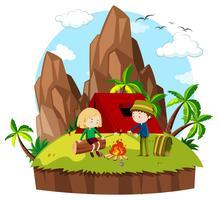 Mensen kamperen in de bergen