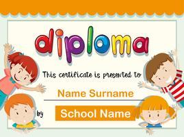 Certificaatsjabloon met vier kinderen met een grote glimlach vector