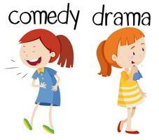 Tegenover woorden voor komedie en drama vector