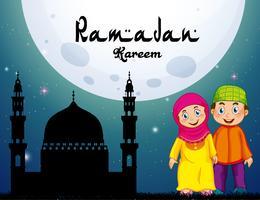 Moslimpaar en moskee bij nacht