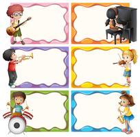 Kadersjabloon met kinderen spelende muziekinstrumenten vector
