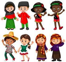 Jongens en meisjes in traditionele kostuums vector