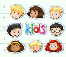Sticker met gezichten voor kinderen vector
