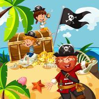 Piraat en kinderen met schatkist op eiland vector