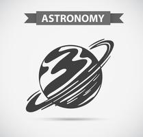 Astronomieembleem op grijze achtergrond vector