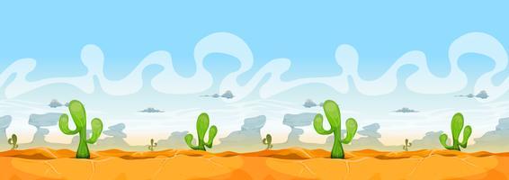 Naadloos westelijk woestijnlandschap voor Ui-spel vector