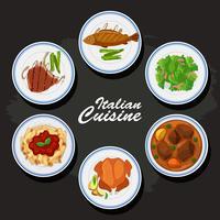 Italiaanse keukenachtergrond met verschillend voedsel op de platen