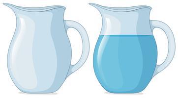 Twee potten met en zonder water