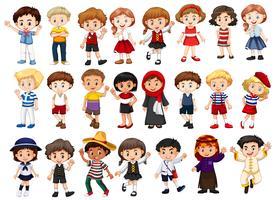 Verschillende karakters van jongens en meisjes vector