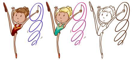 Doodle karakter voor meisje doet gymnastiek met lint vector
