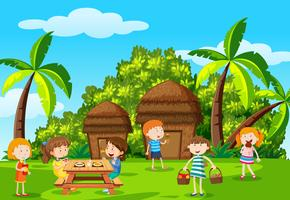 Childre picknick in het park