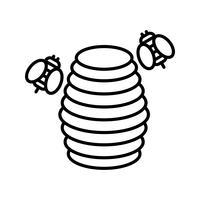 Bijenkorflijn zwart pictogram