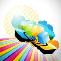 kleurrijke kubus en pijl vector