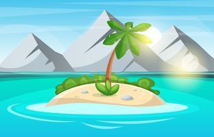 Island cartoon. Zee en zon.