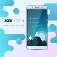 Gebruikersinterfaceontwerp. Smartphone pictogram. Inloggen en wachtwoord.