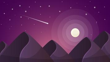 Cartoon nacht landschap. Komeet, maan, bergenillustratie.
