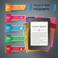 Zakelijk boek infographic. Digitaal gadget. vector