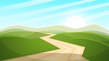 Cartoon landschap illustratie. Zon. weg, wolk, heuvel.