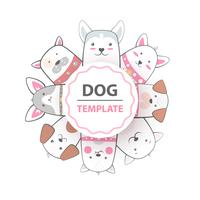 Leuke, koele, mooie, grappige, gekke, mooie hondsjabloon. vector