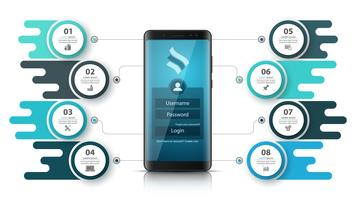 Smartfone zakelijke infographic. Zakelijke afbeelding. vector
