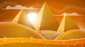 Woestijnlandschap. Piramide en zon.