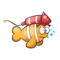 Cartoon vis met raket