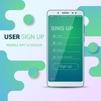 Gebruikersinterfaceontwerp. Smartphone pictogram. Inloggen, wachtwoord, aanmelden, registreren.