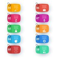 Infographic ontwerp. Lijst met 10 items. Pin, clip-pictogram.