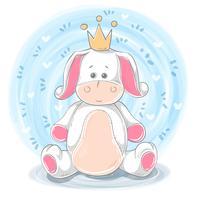 Prinsesillustratie - beeldverhaal dierlijke karakters. vector