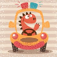 Leuke dino rijdt grappige auto. vector