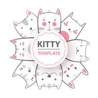 Leuk, cool, mooi, grappig, gek, mooie kat, pot vector