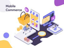 Mobiele handel isometrische illustratie. Moderne platte ontwerpstijl voor website en mobiele website. Vectorillustratie