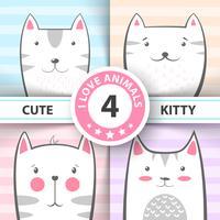 Stel schattige, mooie katten- en kitty-personages in.