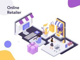 Online retailer isometrische illustratie. Moderne platte ontwerpstijl voor website en mobiele website. Vectorillustratie vector