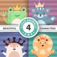 Cartoon schattige hallo dieren - kikker, kat, herten, leeuw. vector