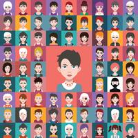 Reeks kleurrijke avatars van karakters
