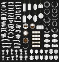 verzameling van verschillende linten tags lauweren schilden en trofeeën vector