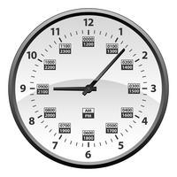 Realistische 12 tot 24 uur militaire tijd klok conversie geïsoleerde vectorillustratie