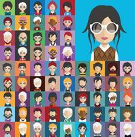 Avatar verzameling van verschillende mannelijke en vrouwelijke personages vector