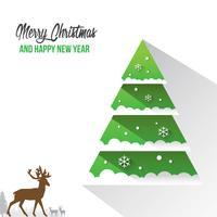 Vrolijke Kerstmis en gelukkig Nieuwjaar versieringen kaart met sneeuw vlok Bokeh Vector achtergrond