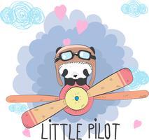 Schattige baby Panda op een vliegtuig vector